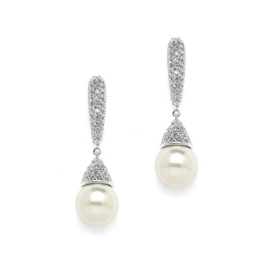 Valencia faux pearl and diamante long drop earrings gorgeous as wedding earrings