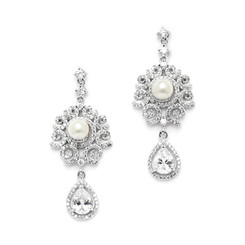 Janine vintage inspired statement pearl and cz drop earrings by Girls Love Pearls