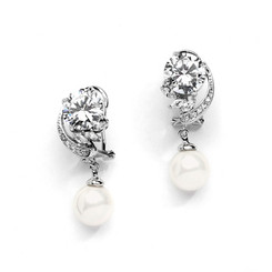 Vintage designed drop wedding earrings from Girls Love Pearls L62