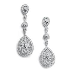 Vintage styled diamante long drop bridal earrings L65