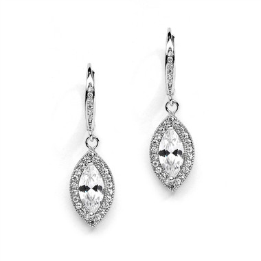 Lovely vintage finished linear cubic zirconia bridal earrings
