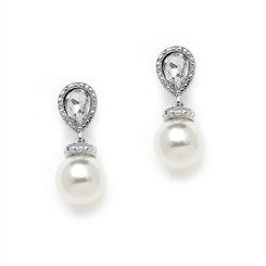 Gabriella pearl and cz drop earrings, gorgeous for bridal or bridesmaids