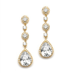 Angelica golden finished diamante drop evening or bridal earrings