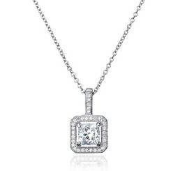 The lovely Katy princess cut diamante pendant for bride or bridesmaids