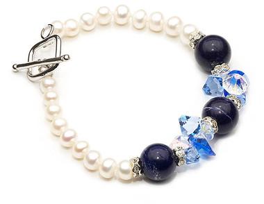 Lapis Lazuli and pearl bracelet