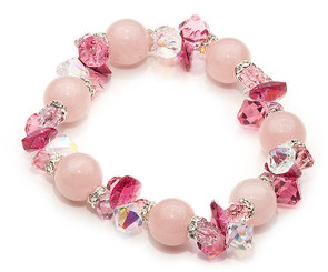 Rose Quartz and crystal gemstone bracelet