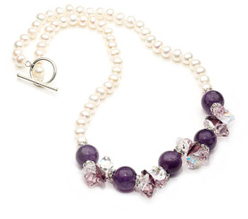 Gorgeous Amethyst and pearl gemstone necklace, lovely gift or for a special occasion