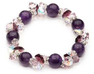 Gorgeous Amethyst gemstone  and crystal bracelet, perfect for a special occasion or gift.