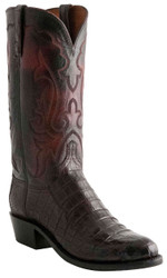 "Men's 12"" Lucchese 1883 N9582 Kennedy Collar Crocodile Belly Caiman Black Cherry"