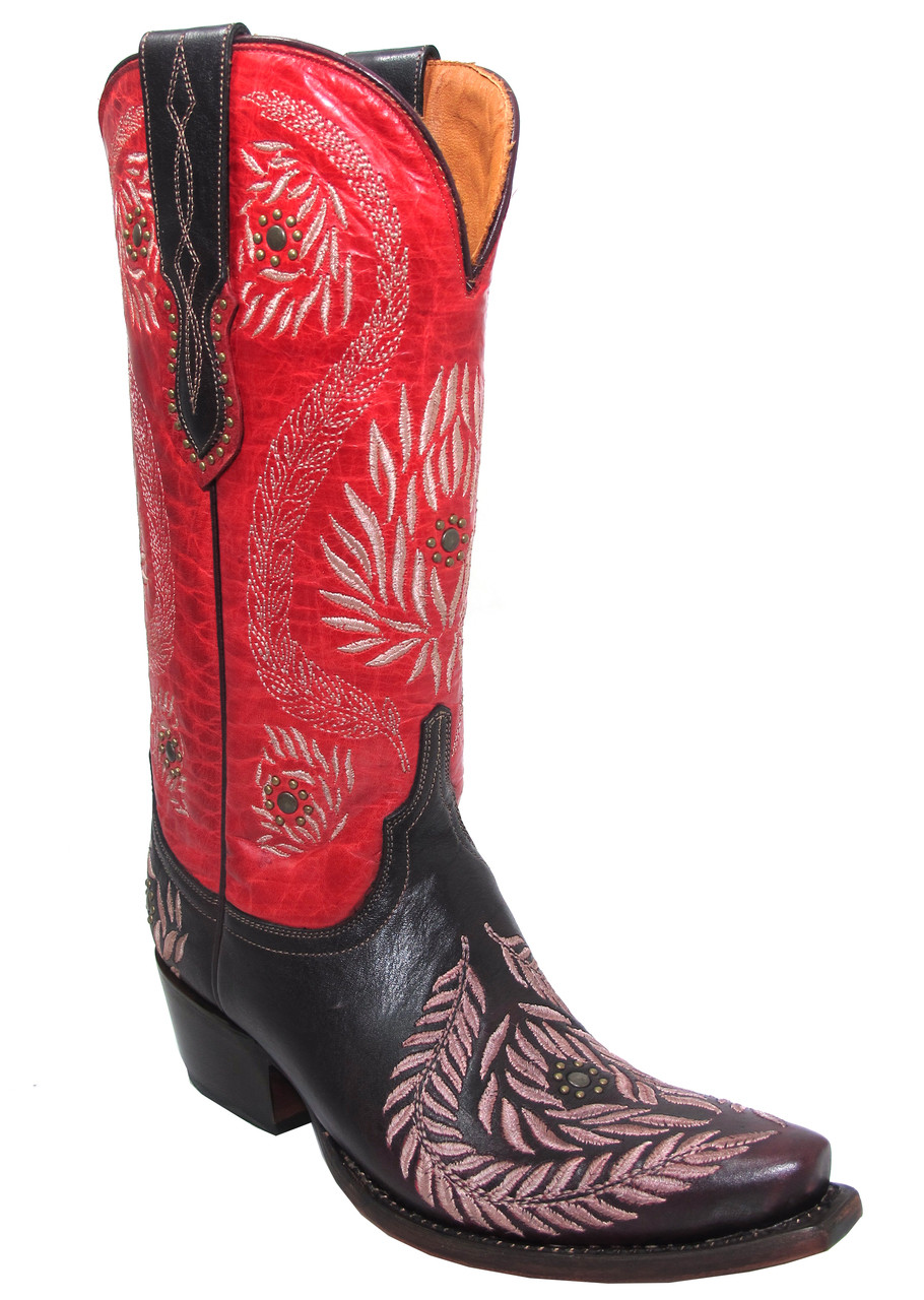 b55f6508a02 Women's Lucchese 1883 M4837 Ornament Leaf Red Wine Embroidered Cowgirl Boots