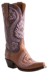 Women's Lucchese 1883 M4836 Ornamental Laurel Leaf Cognac/Purple Cowgirl Boots