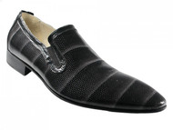 Carlo Ventura 1143 Men's Italian Dressy Evening Perforated Leather Shoes Black