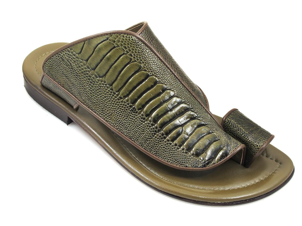 f019c5491 Davinci 2013 Ostrich Print Men s Italian Push In Toe Ring Sandal.  239.00.  2013 green