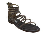 Albano 2564 Night Oro Women's Dressy Strappy Glittered Sandal Bejeweled