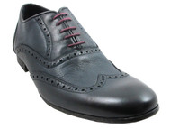Davinci 9798 Men's Italian Lace Up Wash Leather Dress Shoes in Navy
