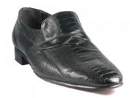Via Veneto Dressy Ostrich Skin Round Two Slip on Shoes Black 9231