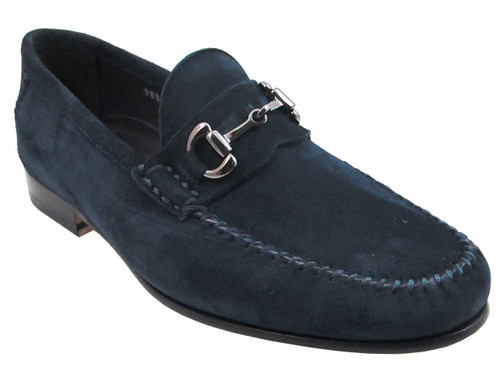 Davinci 9880 Velukid Cucio Italian Slip-on Loafer Suede In Smoke And Blue - DAVINCI SHOES