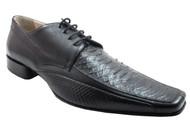 Davinci 2768 Men's Python Square toe Lace-Up Italian Dress Shoes, Black