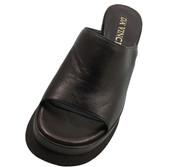 Women's Davinci Designer 3115 Leather Italian Wedge Slide Sandal, Black