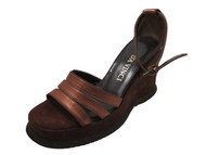 Women's Davinci Designer 3107 Leather Italian Wedge Sandal, Bronze