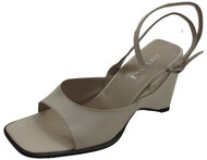 Women's Davinci Designer 1899 Italian Ankle Strap Wedge Sandal, Off White