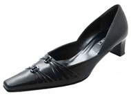 Davinci 1108 Women's Italian Flat Toe Low Heel with Two Buckle in Black