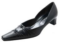 Davinci 1108 Women's Italian Flat Toe Low Heel with Two Buckle in Black