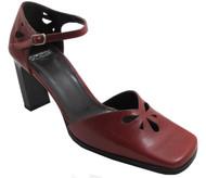 Dominici 2447 Italian Women's square toe Mid Heel Pumps in Black and Bordo
