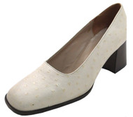Davinci 261 Women's Mid Heel Round Toe Ostrich Pumps in Black Beige and Tan