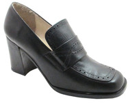Spiral 5962 Women's square toe Patterened mid heel italian pumps in black