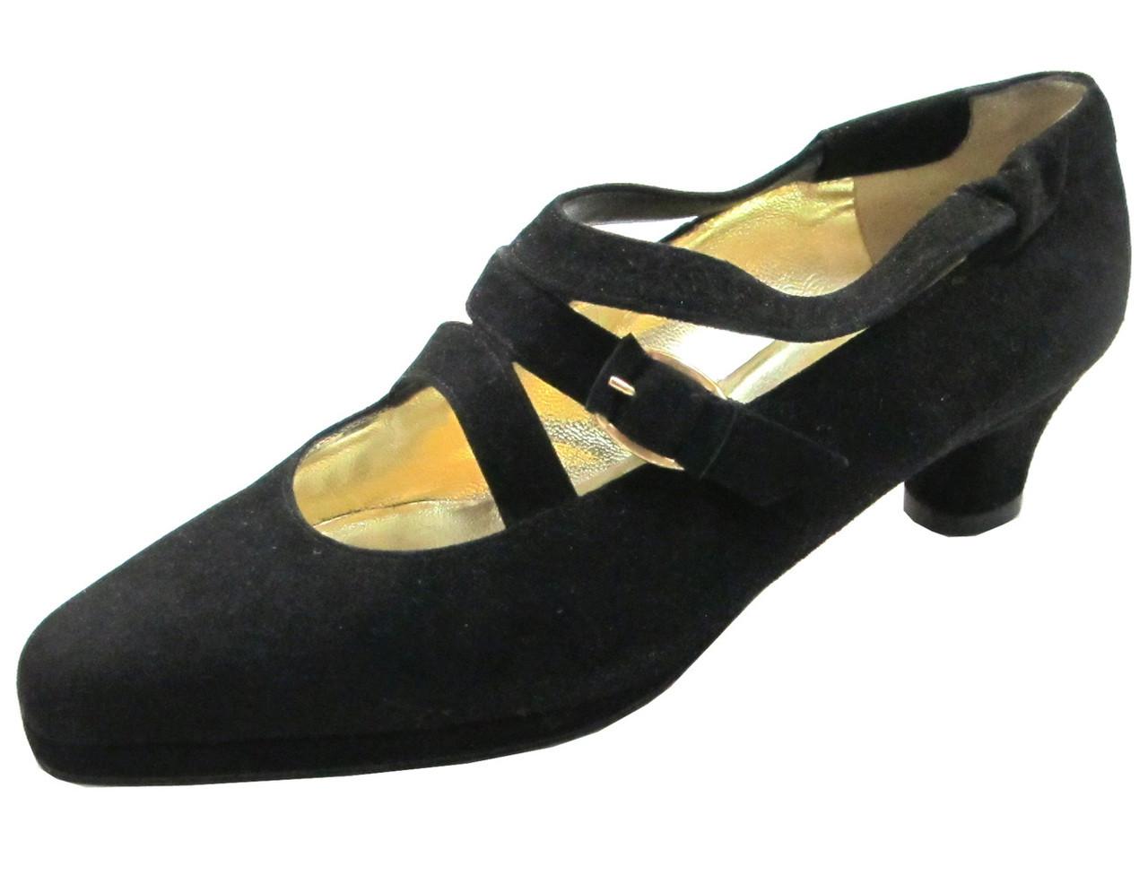 ea953377d06 Linea Barbarella 4028 Women s Low Heel Pumps in black suede with 3 straps