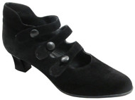 Caiman 4300 Women's Italian 3 strap Mid Heel Pumps in Black suede