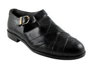 Davinci 5675 Men's Italian Leather Strappy Closed Toe Sandals, Black