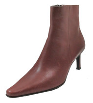 DA'VINCI 4168 Women's Italian Dressy Snip Toe low Heel leather Boot, Bordo