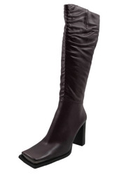 DA'VINCI 66228 Women's Square Toe Knee High Heel Boots, Plum