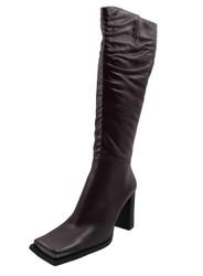 DA'VINCI 66228 Women's Square Toe Knee High Heel Boots, Plum