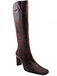 The Seller Python Women's Pointy Toe High Heel Boots, Red