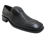 Davinci Men's 5730 Pleated leather italian moc toe slip on shoes in black