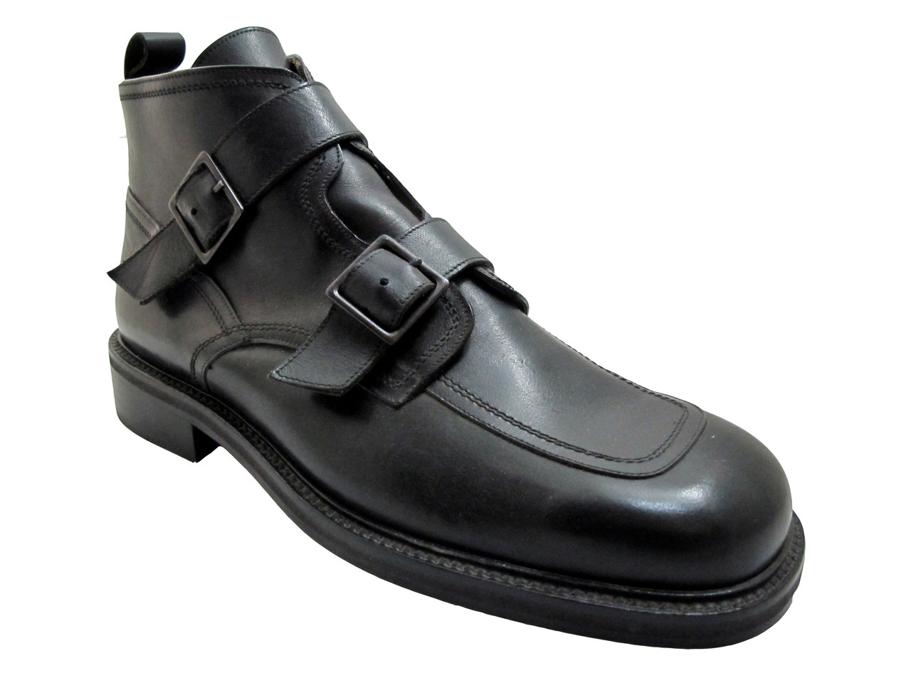 a49c50aed729a Smith 21206 Men's Italian Leather with Two straps Ankle Boot Black