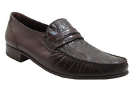 Via Veneto Men's 9998 Crocodile Italian Slip On Loafer Brown