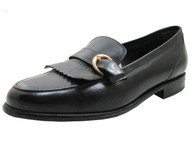 Via Veneto Men's 11459 Italian Monk Strap Loafers in Black with Fringes