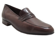 Via Veneto Men's 9881 Italian Moc Toe Slip On Loafer in Brown
