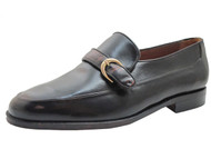 Via Veneto Men's 114259 Wide Monk Strap Buckle Moc Toe Loafer in Black and Tan
