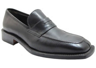 Fontiera Men's 2436 Slip on split moc toe Italian Loafers with strap in black