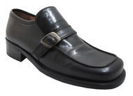 Nex Men's 2970 Rounded Square Moc Toe Shoes with Buckle in Black