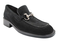 Ecce Homo Men's 16838 Round Moc Toe Slip-On Shoes in Black suede or leather
