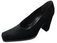 Davinci Women's 5401 Square Mid Heel Italian Long Toe Suede Pumps in Black