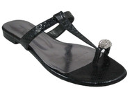 J. Renee Desna Women's Flat Push in Toe sandal Silver and Black Snake