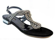 Barachini 15212 Women Italian dressy With Stones Flat Sandals