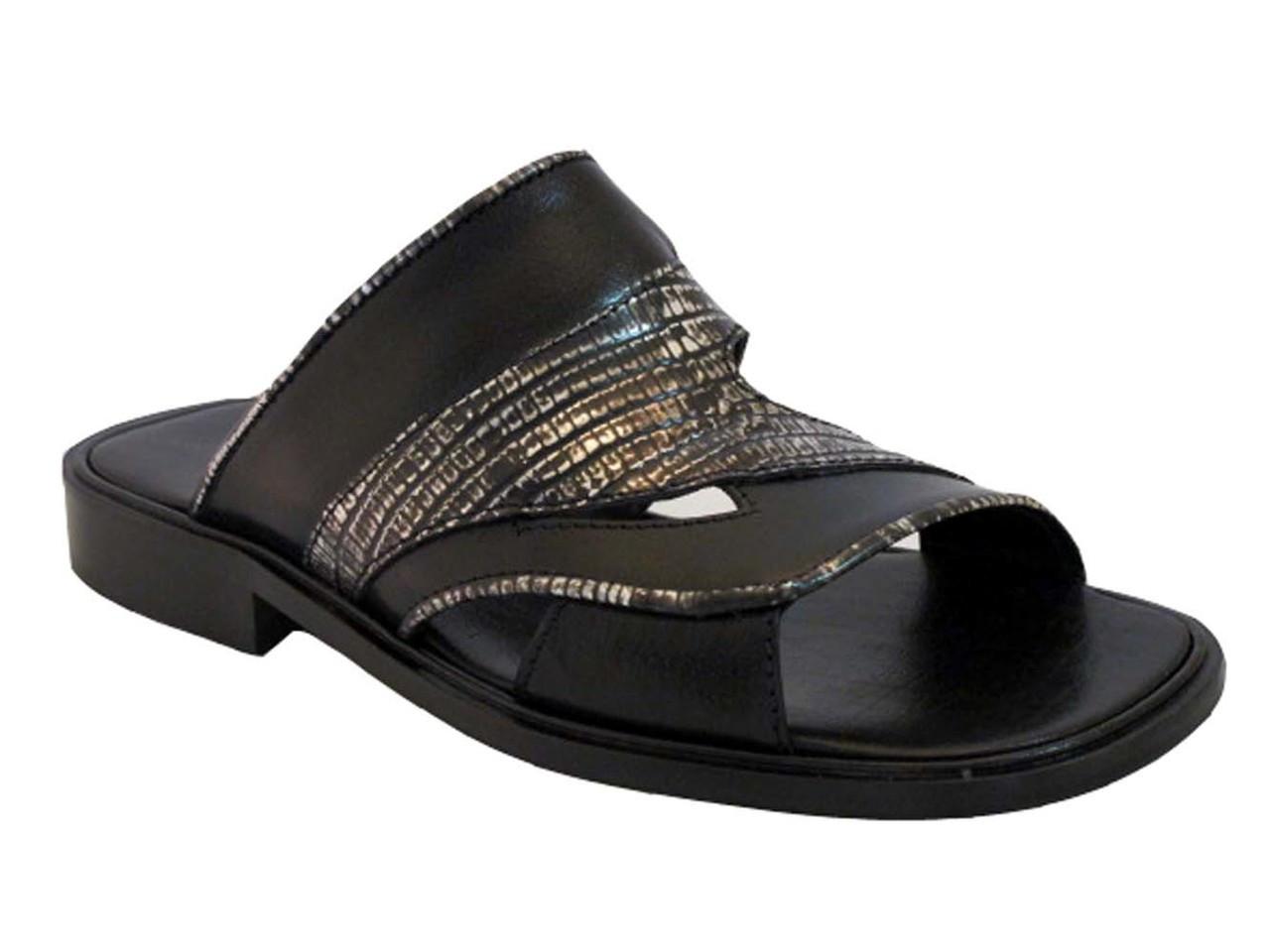 824d49026 Davinci 3936 Men s Italian Slip On Leather Woven Sandals Black